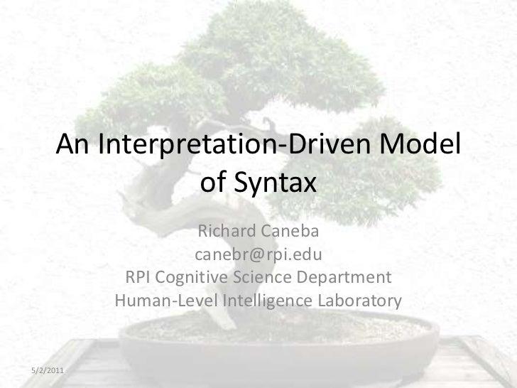 An Interpretation-Driven Model of Syntax<br />Richard Caneba <br />canebr@rpi.edu<br />RPI Cognitive Science Department<br...
