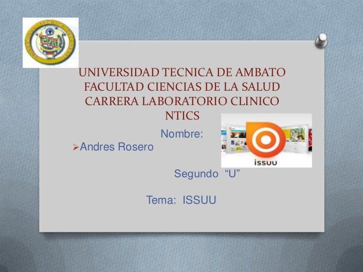 UNIVERSIDAD TECNICA DE AMBATO  FACULTAD CIENCIAS DE LA SALUD  CARRERA LABORATORIO CLINICO              NTICS              ...