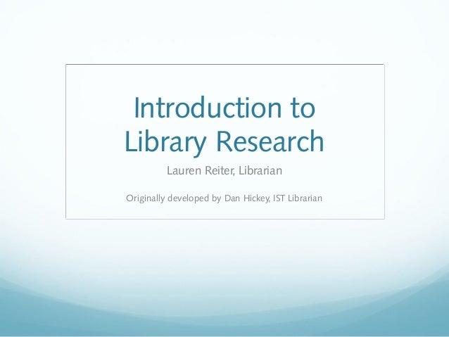 IST 110s: Library Skills