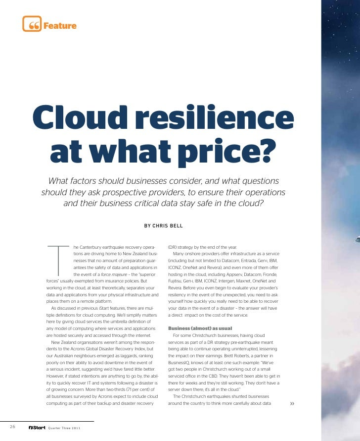 iStart Cloud resilience but at what price?