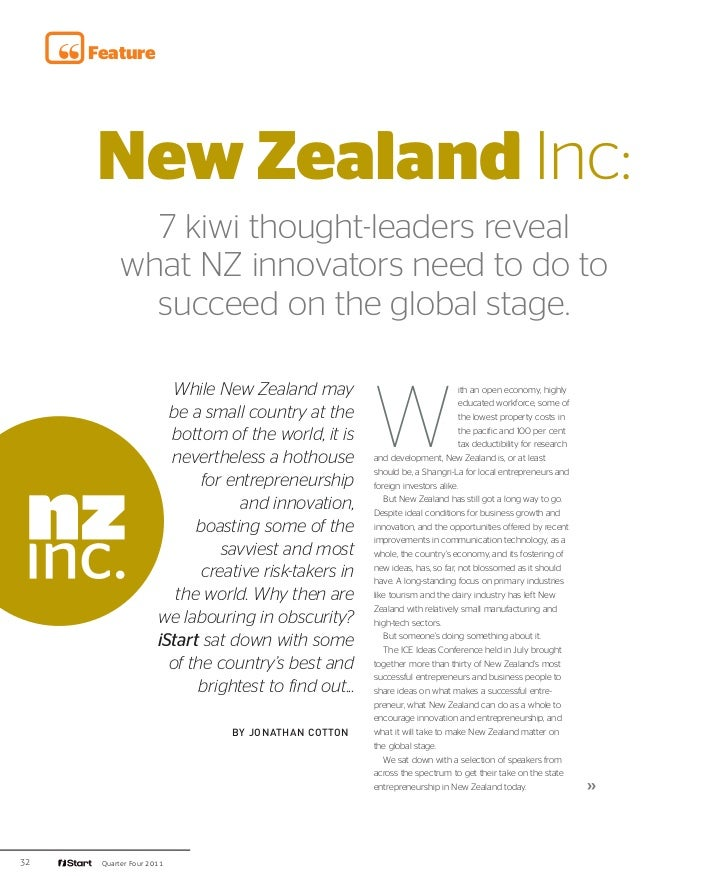 iStart - New Zealand Inc: what NZ innovators need to do