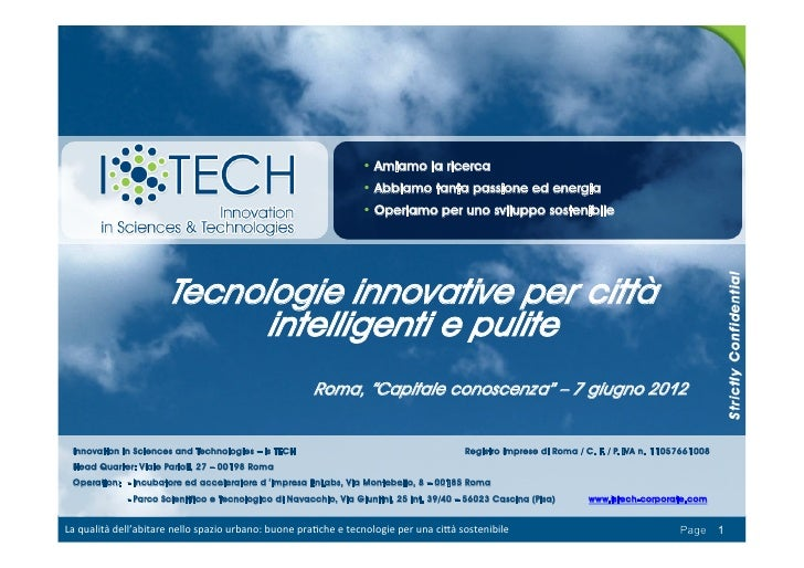 Is TECH Tecnologie Innovative Per Città Intelligenti E Pulite 7 Giugno 2012