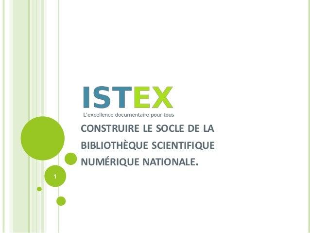 CONSTRUIRE LE SOCLE DE LA    BIBLIOTHÈQUE SCIENTIFIQUE    NUMÉRIQUE NATIONALE.1