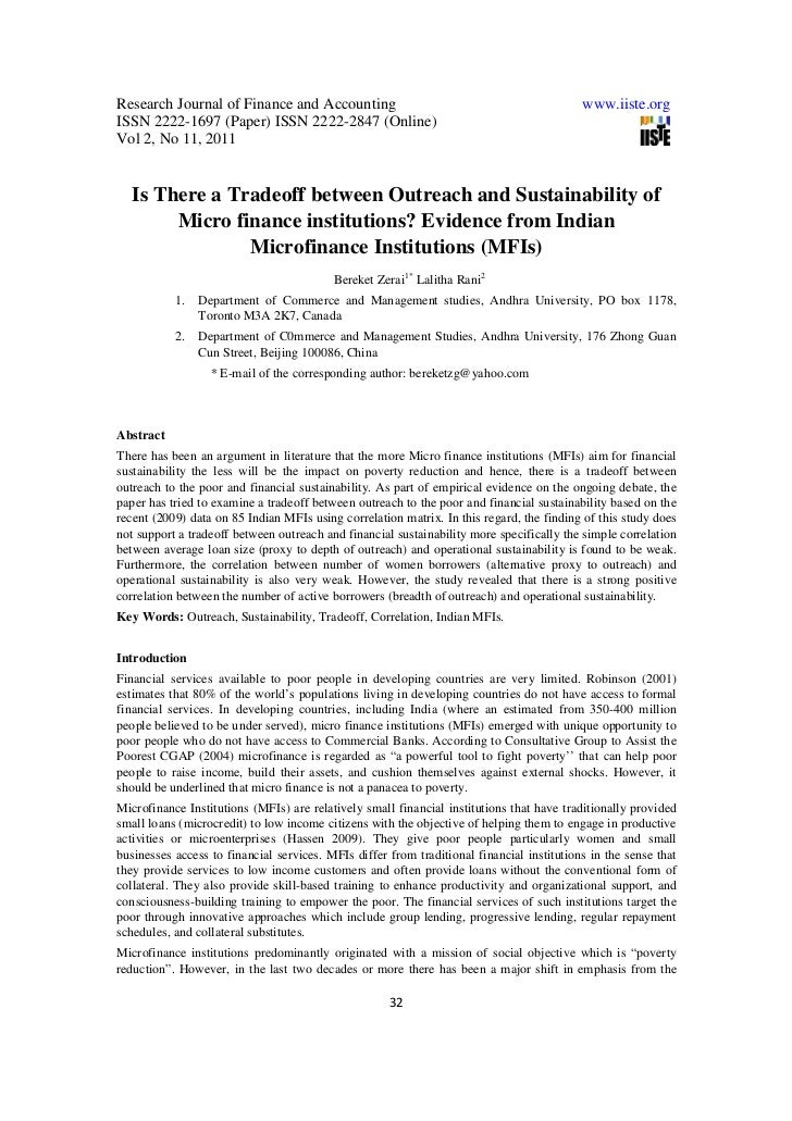 Is there a tradeoff between outreach and sustainability of micro finance institutions
