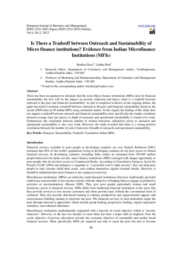 Is there a tradeoff between outreach and sustainability of micro finance institutions (2)