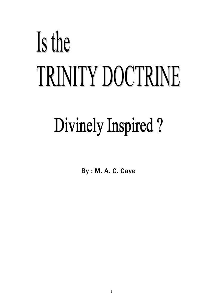 Is The Trinity Doctrine Divinely Inspired
