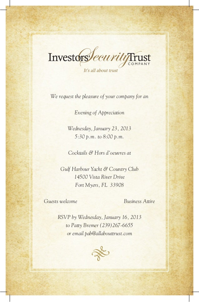 We request the pleasure of your company for an Evening of Appreciation Wednesday, January 23, 2013 5:30 p.m. to 8:00 p.m. ...