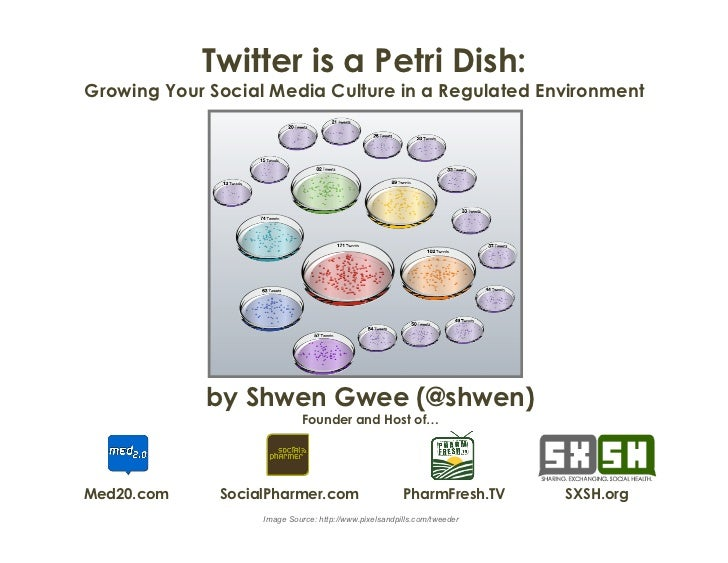 Twitter is a Petri Dish:Growing Your Social Media Culture in a Regulated Environment             by Shwen Gwee (@shwen)   ...
