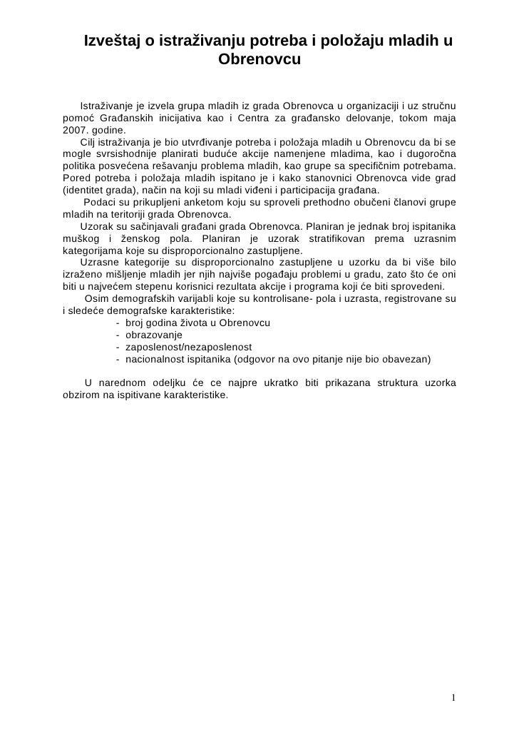 Izvestaj o istrazivanju potreba i polozaju mladih u Obrenovcu
