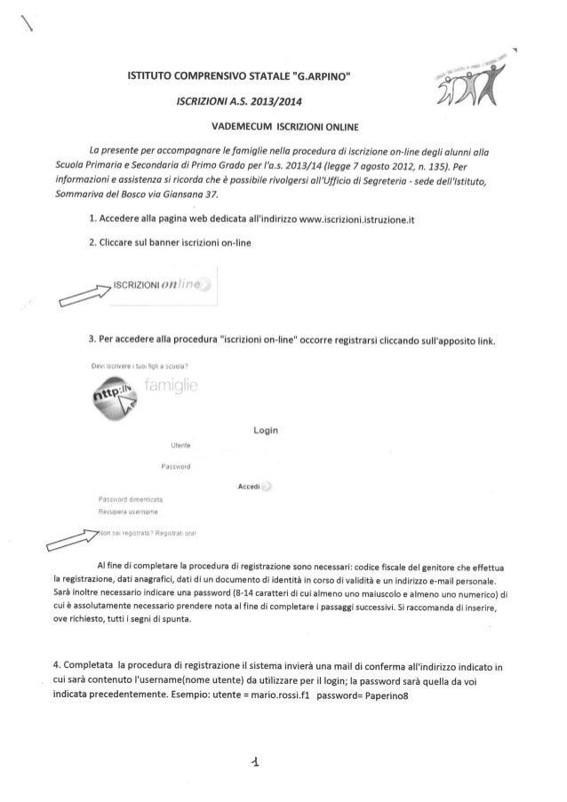 Istruzioni iscrizioni a.s. 2013/2014