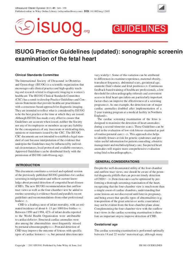 Ultrasound Obstet Gynecol 2013; 41: 348 - 359 Published online in Wiley Online Library (wileyonlinelibrary.com). DOI: 10.1...