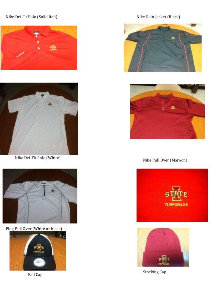 Nike Dri-Fit Polo (Solid Red)     Nike Rain Jacket (Black)     Nike Dri-Fit Polo (White)                                  ...