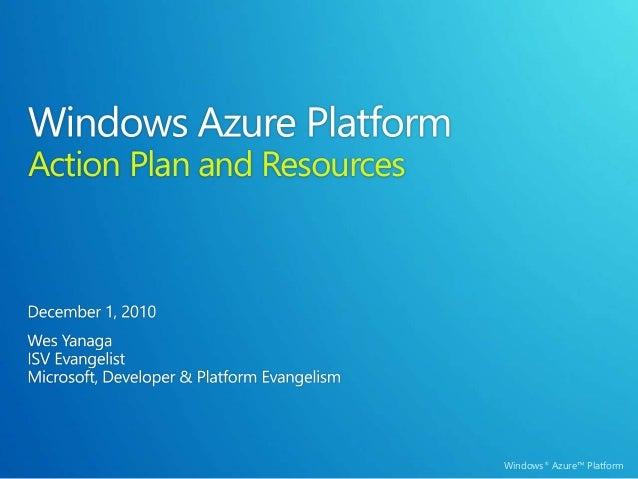 Windows Azure Platform - ISV Cloud Action Plan and Resources