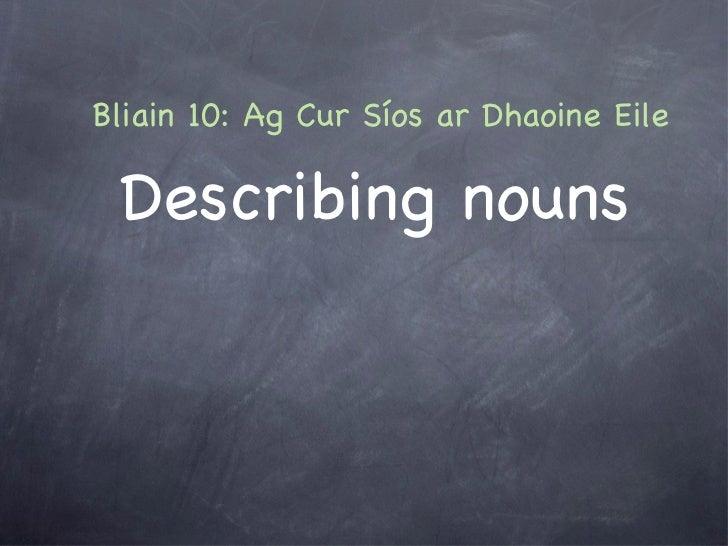 <ul><li>Describing nouns </li></ul>Bliain 10: Ag Cur Síos ar Dhaoine Eile
