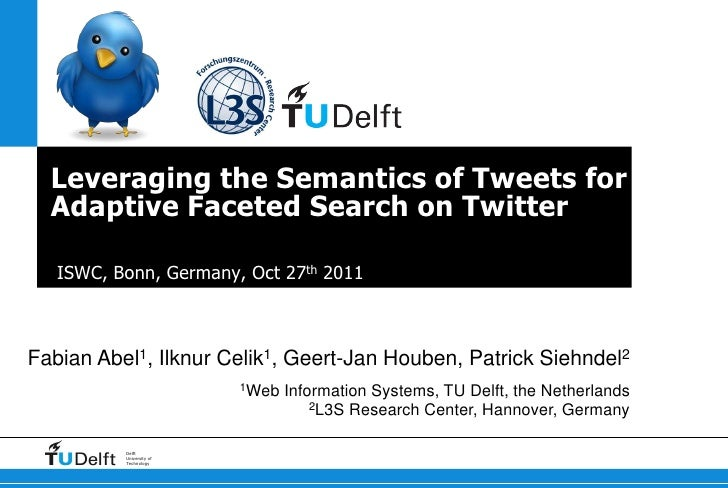 Leveraging the Semantics of Tweets for  Adaptive Faceted Search on Twitter  ISWC, Bonn, Germany, Oct 27th 2011Fabian   Abe...
