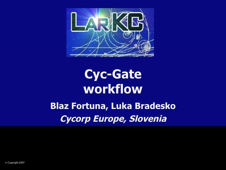 Cyc-Gate workflow Blaz Fortuna, Luka Bradesko Cycorp Europe, Slovenia