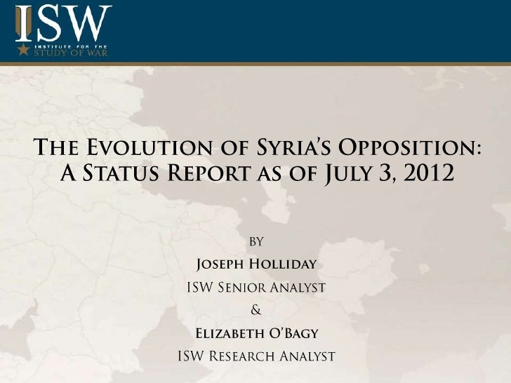 The Evolution of Syria's Opposition: A Status Report as of July 3, 2012