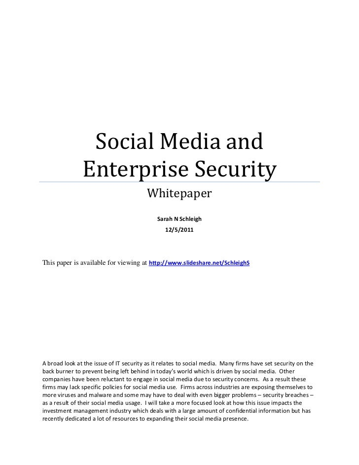 Social Media and               Enterprise Security                                         Whitepaper                     ...