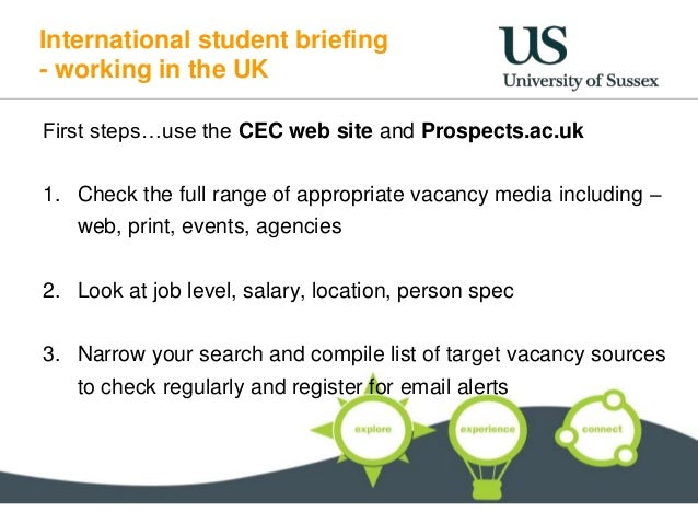 International student briefing - working in the UK First steps…use the CEC web site and Prospects.ac.uk 1. Check the full ...