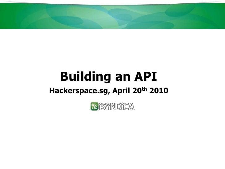 iSyndica - Building an API