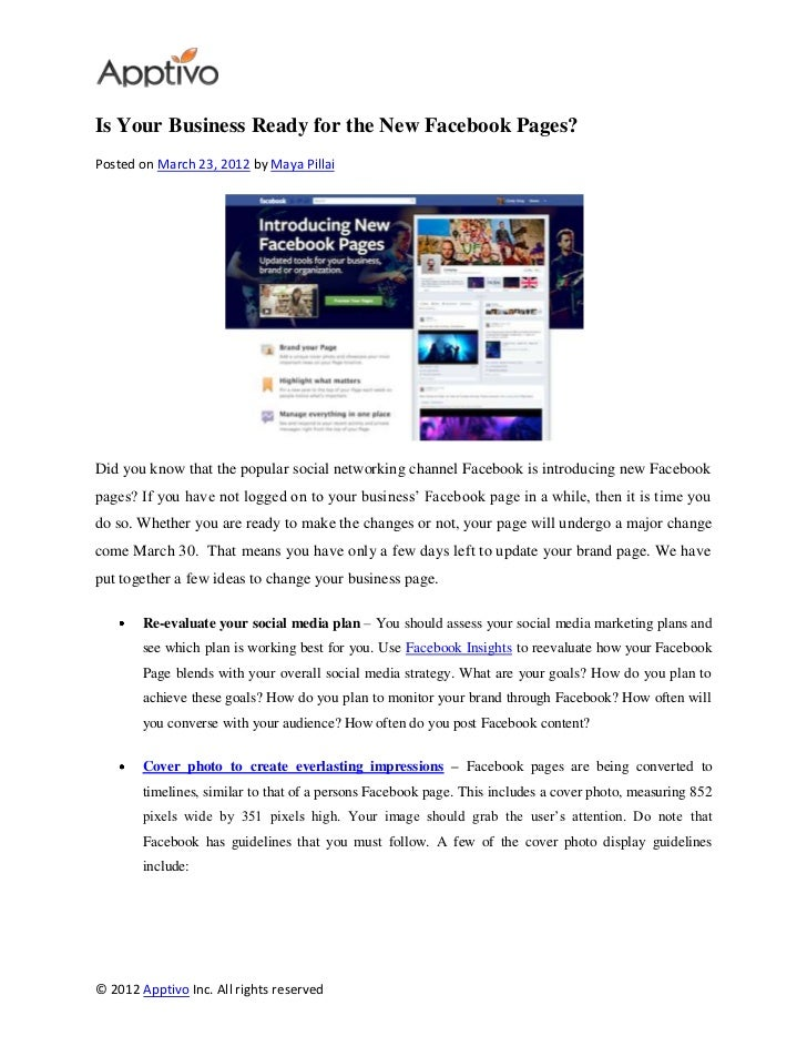 Is Your Business Ready for the New Facebook Pages?Posted on March 23, 2012 by Maya PillaiDid you know that the popular soc...