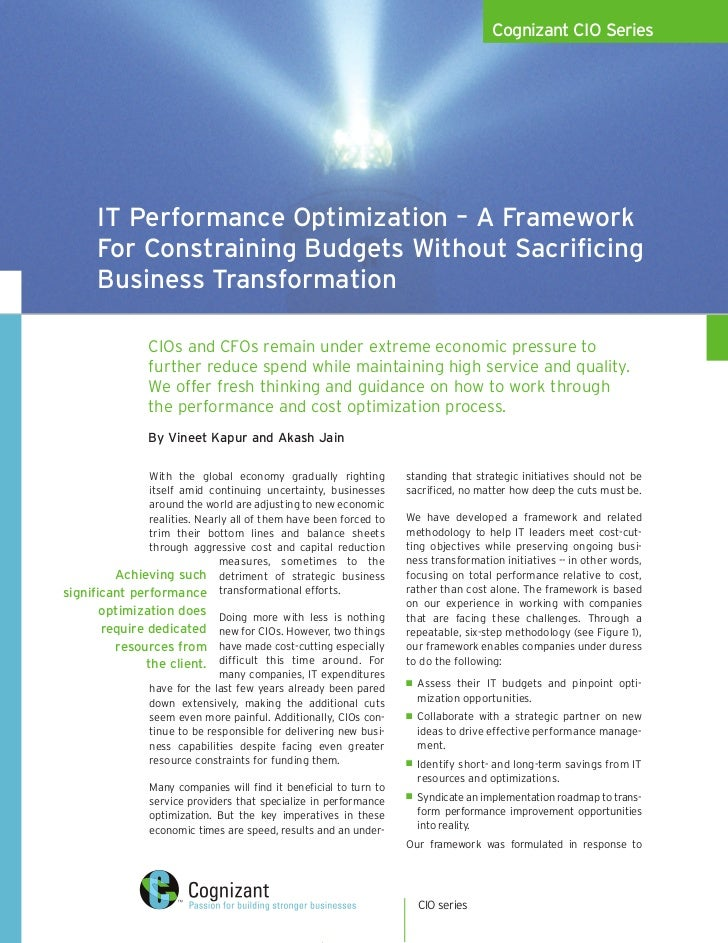 IT Performance Optimization – A Framework For Constraining Budgets Without Sacrificing Business Transformation