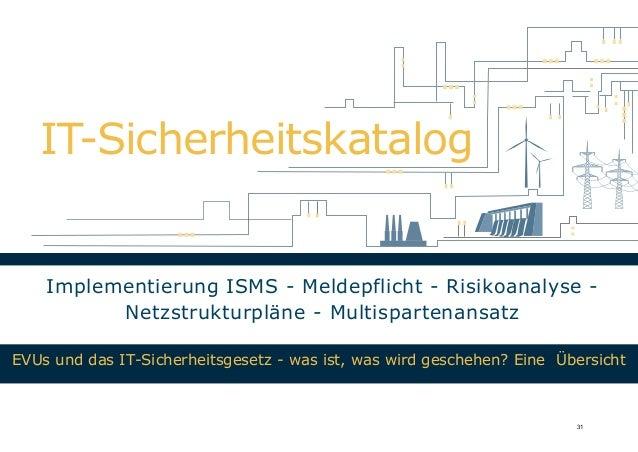 IT-Sicherheitskatalog Implementierung ISMS - Meldepflicht - Risikoanalyse - Netzstrukturpläne - Multispartenansatz EVUs un...