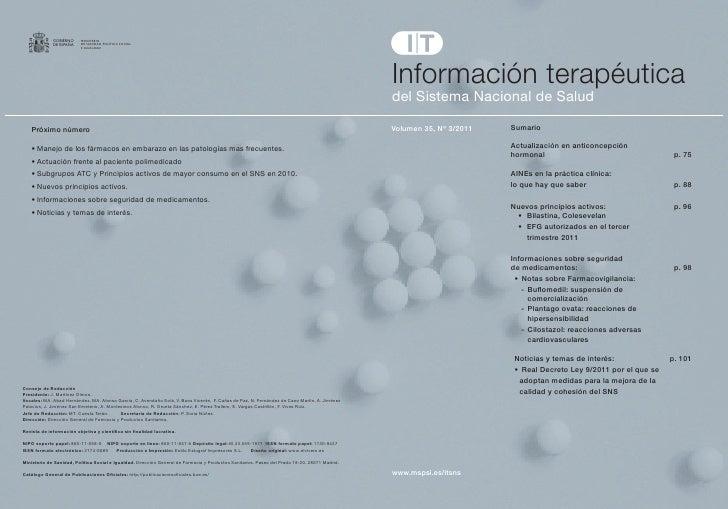 Información terapéuticadelSistemaNacionaldeSaludVolumen 35, Nº 3/2011   Sumario                        Actualización e...