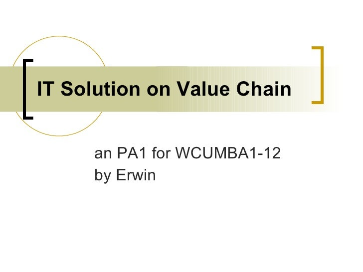 IT Solution on Value Chain an PA1 for WCUMBA1-12 by Erwin