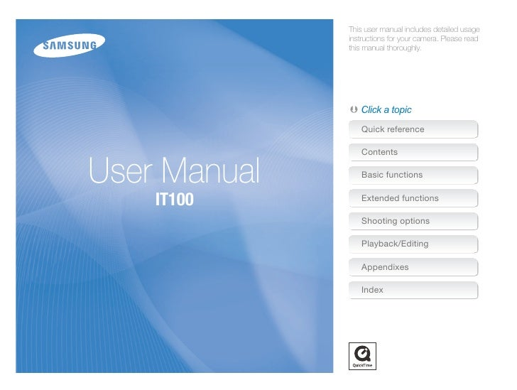 Samsung Camera IT100 User Manual