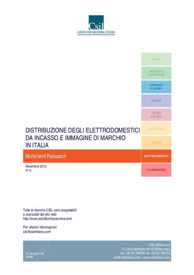 Distribuzione degli elettrodomestici da incasso e immagine di marchio in Italia - Market Research report by CSIL