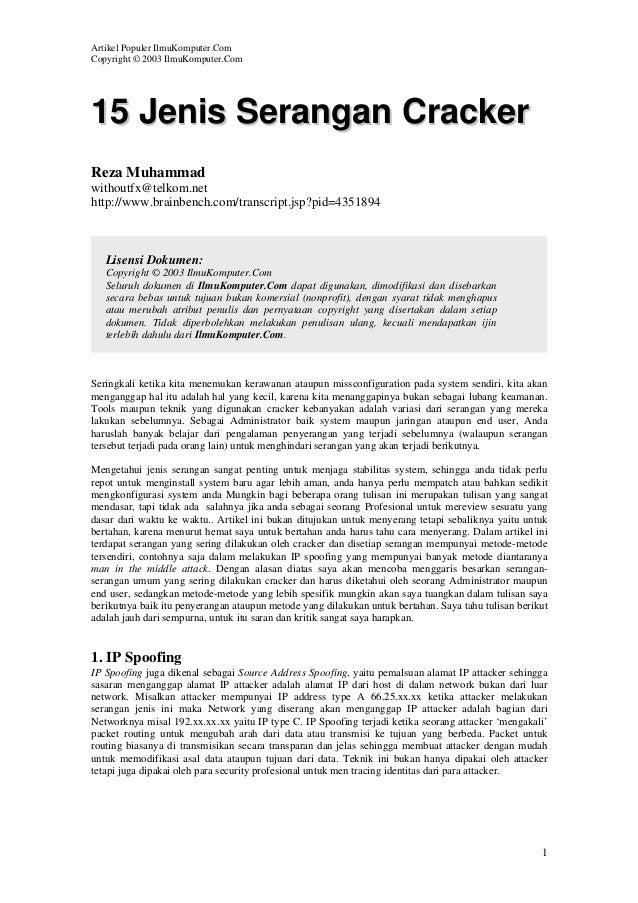Artikel Populer IlmuKomputer.Com Copyright © 2003 IlmuKomputer.Com  15 Jenis Serangan Cracker Reza Muhammad withoutfx@telk...