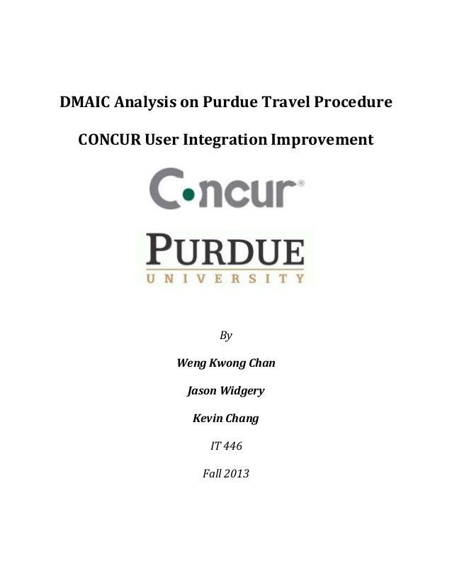 DMAIC Analysis on Purdue Travel Procedure CONCUR User Integration Improvement