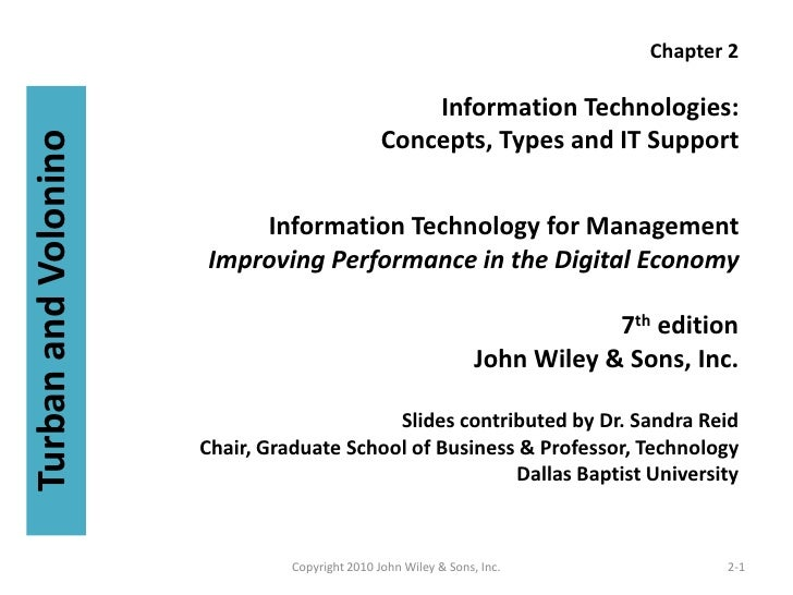 Chapter 2                                                      Information Technologies:                                  ...