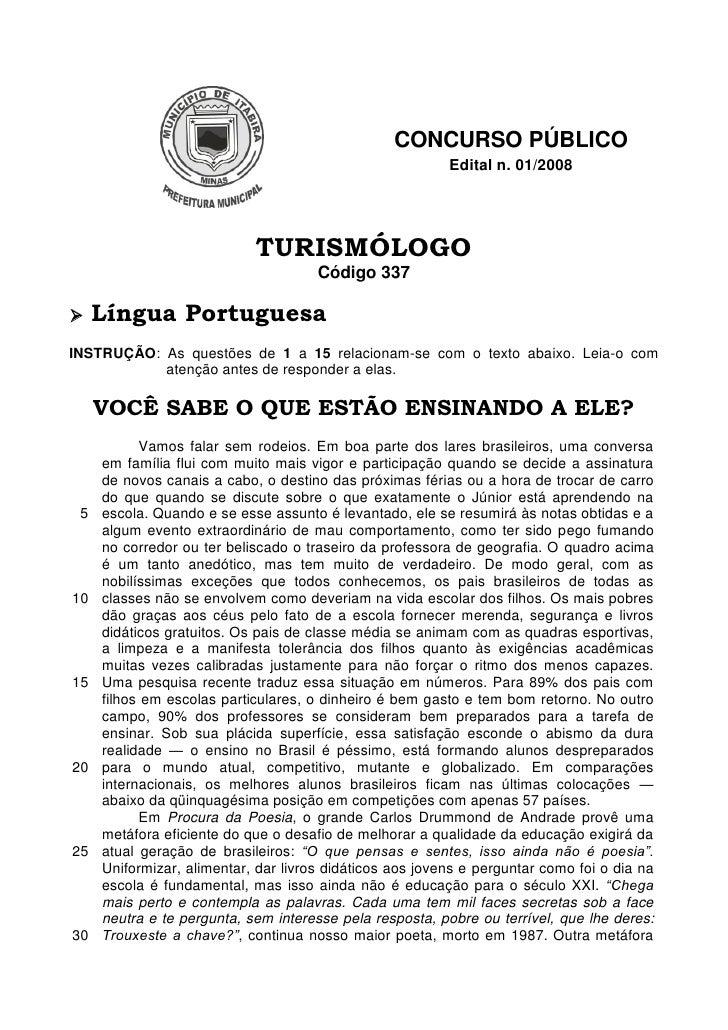CONCURSO PÚBLICO                                                           Edital n. 01/2008                              ...