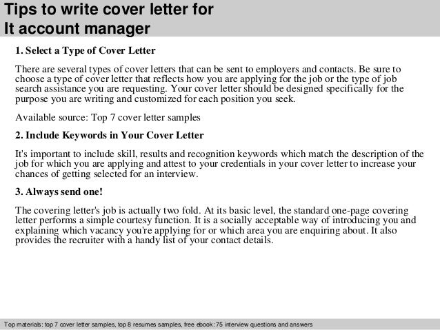Cover letter account manager