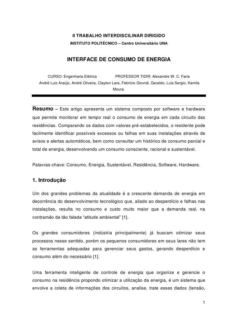II TRABALHO INTERDISCILINAR DIRIGIDO                     INSTITUTO POLITÉCNICO – Centro Universitário UNA                 ...