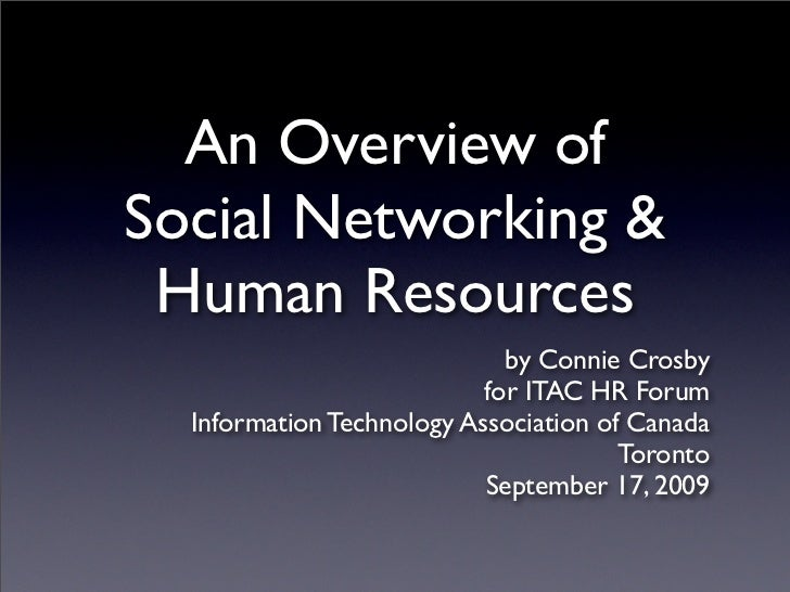 An Overview of Social Networking &  Human Resources                              by Connie Crosby                         ...
