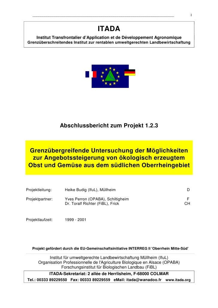 Marktanalyse Bioobst und  Biogemüse in der Oberrheinregion