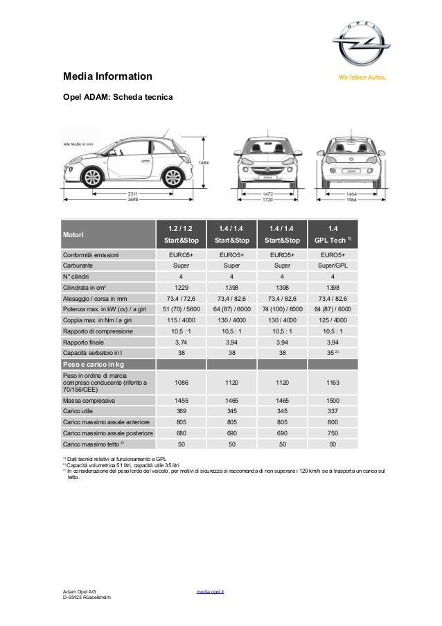 Opel Adam GPL scheda tecnica