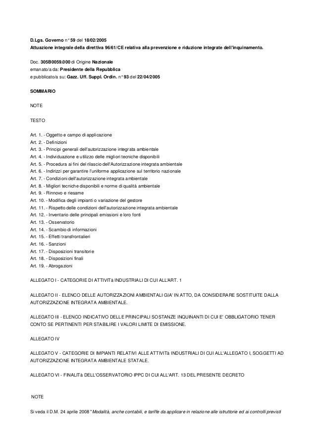 D.Lgs. Governo n° 59 del 18/02/2005 Attuazione integrale della direttiva 96/61/CE relativa alla prevenzione e riduzione in...