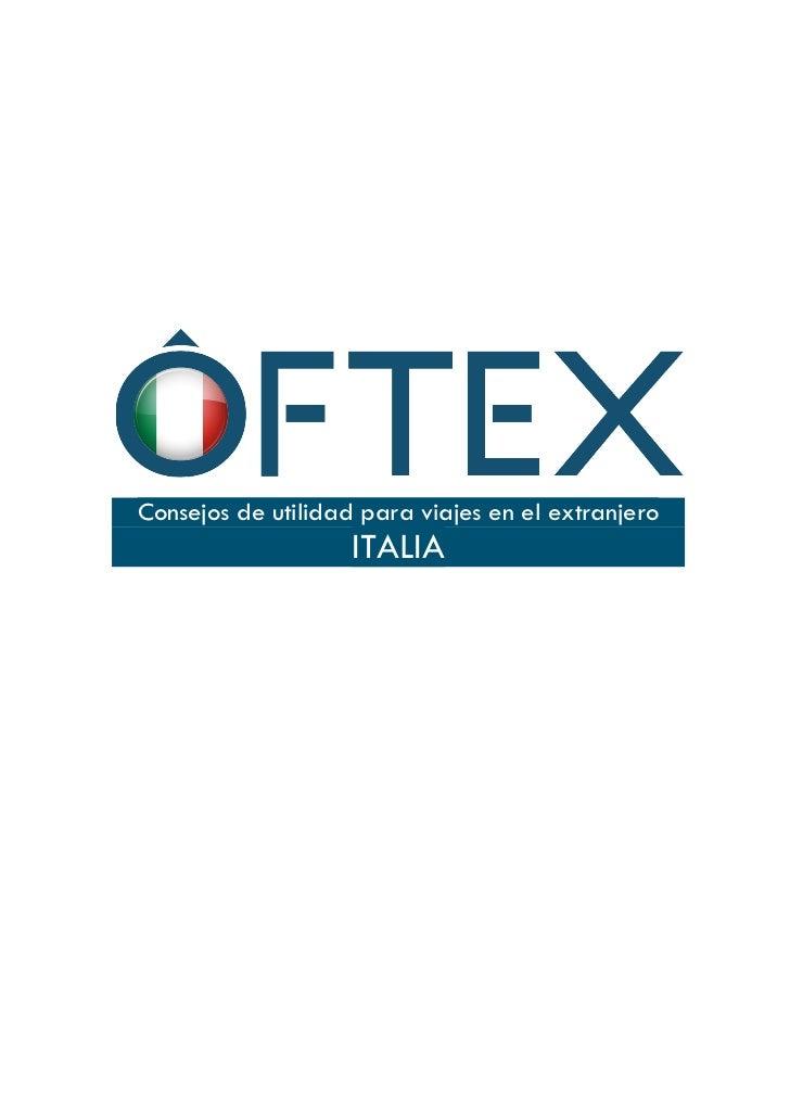 Consejos de utilidad para viajes en el extranjero                    ITALIA