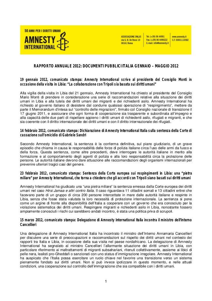 RAPPORTO ANNUALE 2012: DOCUMENTI PUBBLICI ITALIA GENNAIO – MAGGIO 201219 gennaio 2012, comunicato stampa: Amnesty Internat...