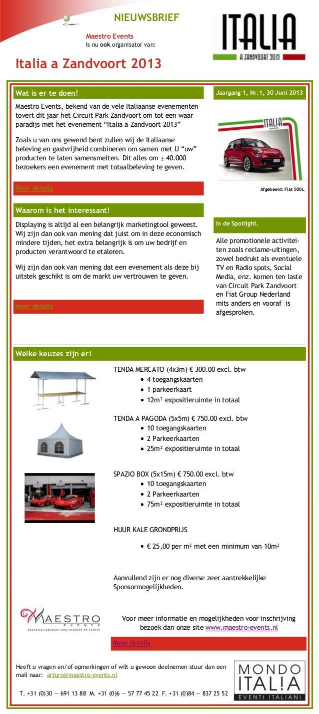 Italia A Zandvoort 2013 - Nieuwsbrief - Maestro Events