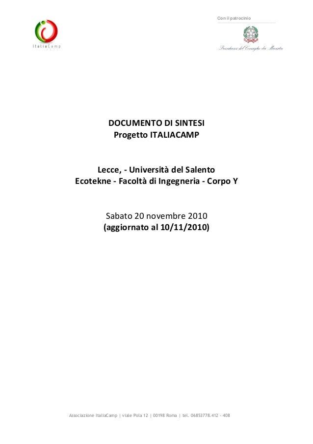 Associazione ItaliaCamp   viale Pola 12   00198 Roma   tel. 06853778.412 - 408 Con il patrocinio DOCUMENTO DI SINTESI Prog...