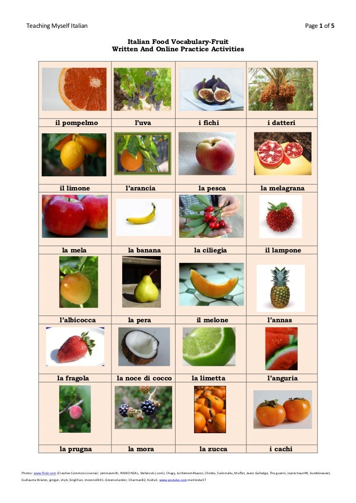 Italian food vocabulary fruit for Cuisine vocabulary