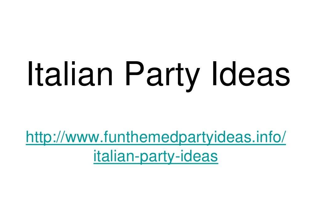 Italian Party Ideas