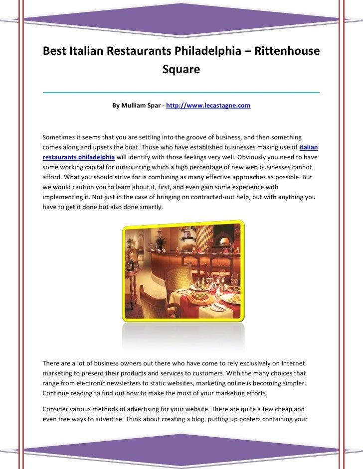 Best Italian Restaurants Philadelphia – Rittenhouse                      Square___________________________________________...
