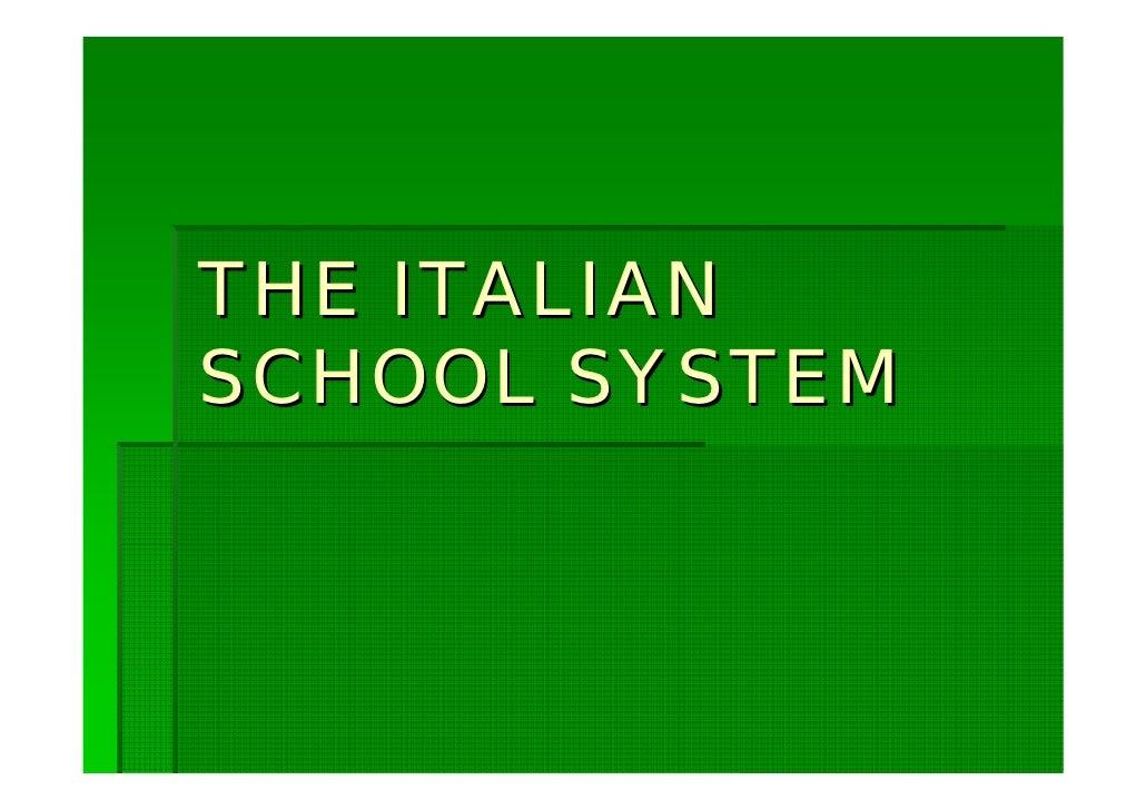 the italian school system.