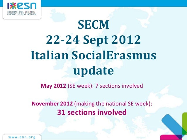 SECM 22-24 Sept 2012 Italian SocialErasmus update May 2012 (SE week): 7 sections involved November 2012 (making the nation...
